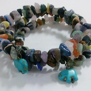 Jewelry - 🆕🆕 Natural Stones Wrap Bracelet w/ Elephant